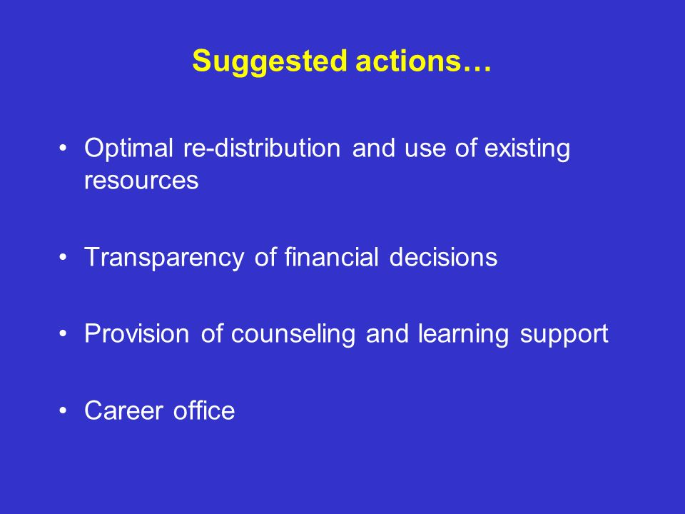 Suggested actions… Optimal re-distribution and use of existing resources. Transparency of financial decisions.