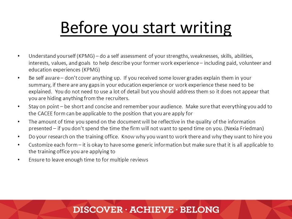 3 before you start writing - Describe Your Educational Experience