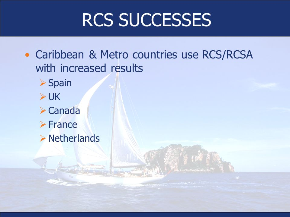 RCS SUCCESSES Caribbean & Metro countries use RCS/RCSA with increased results. Spain. UK. Canada.