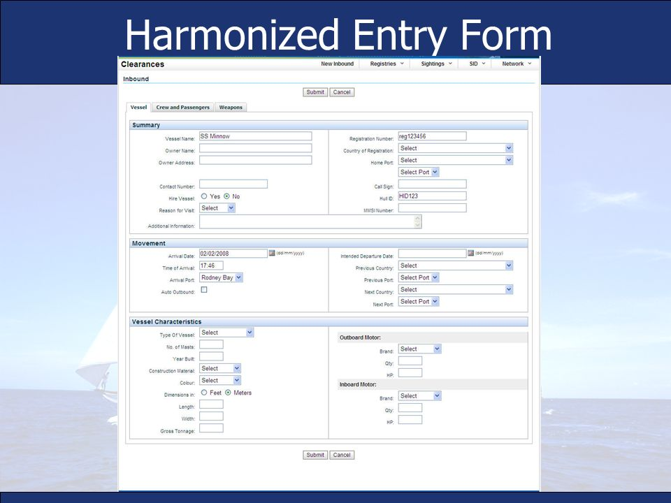 Harmonized Entry Form Simplified, divided into sections