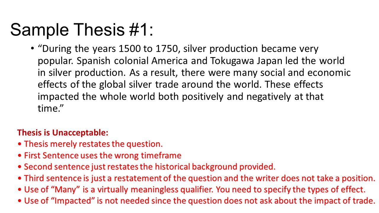 ap world history 2006 dbq silver essay
