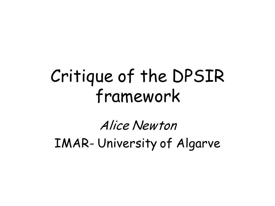 Critique of the DPSIR framework
