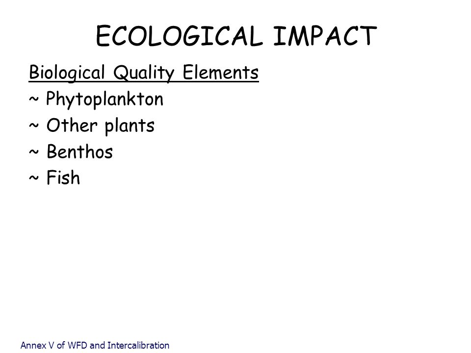 ECOLOGICAL IMPACT Biological Quality Elements Phytoplankton