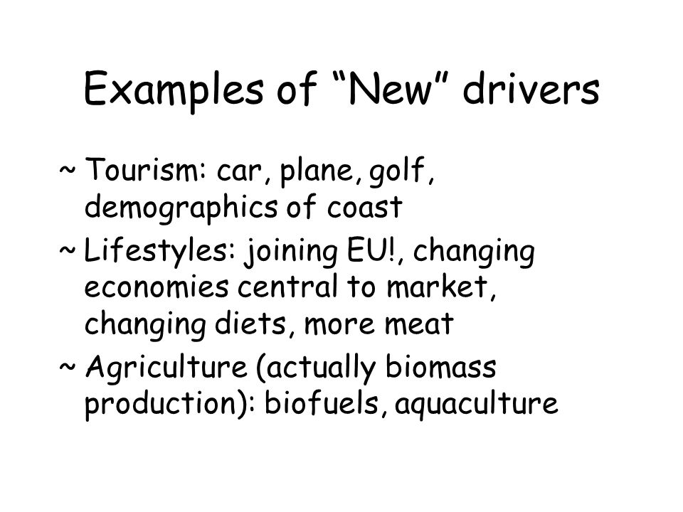Examples of New drivers