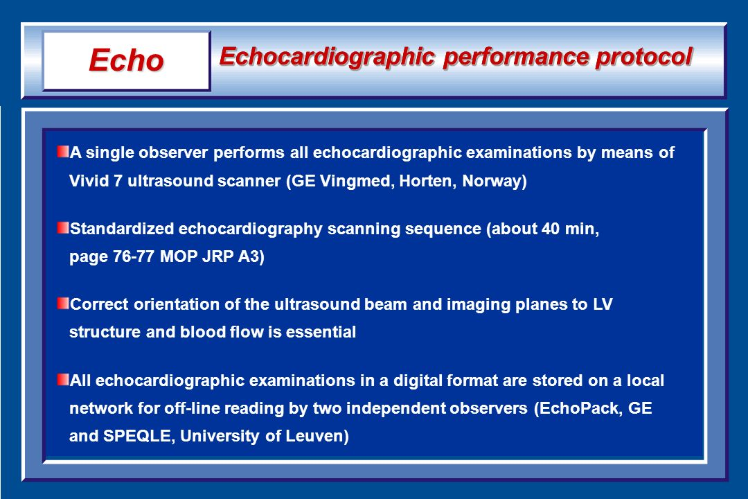 Echo Echocardiographic performance protocol