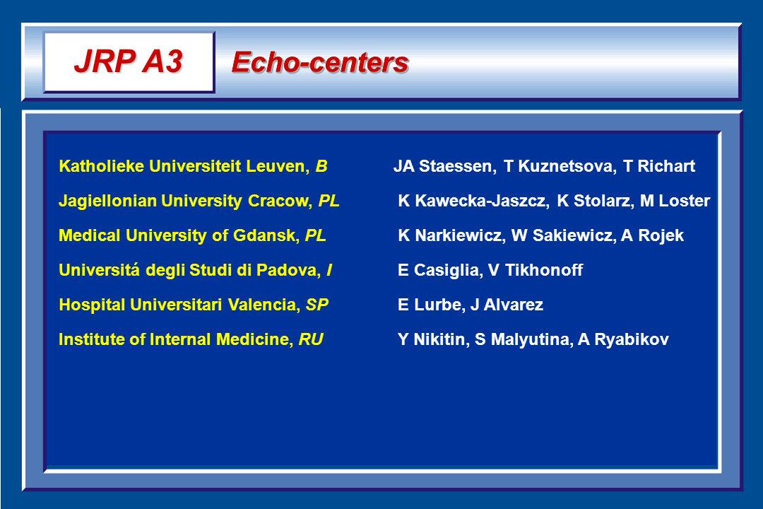 JRP A3 Echo-centers. Katholieke Universiteit Leuven, B JA Staessen, T Kuznetsova, T Richart.