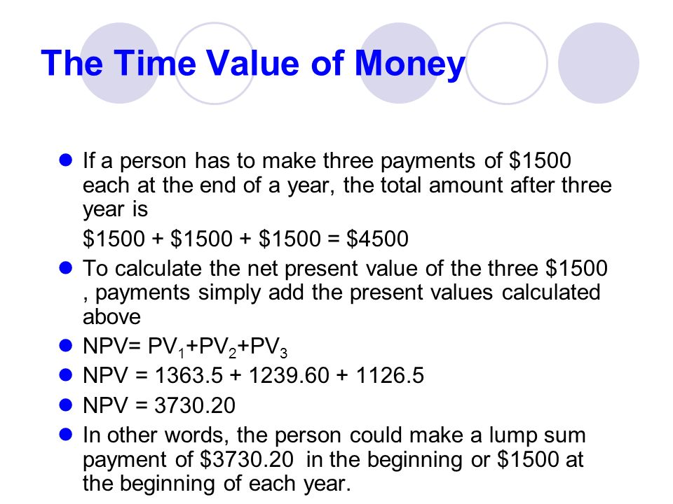 time value of money and end of year The time value of money is a theory that suggests a greater benefit of receiving money now rather than later it is founded on time preference  to calculate the future value (at the end.