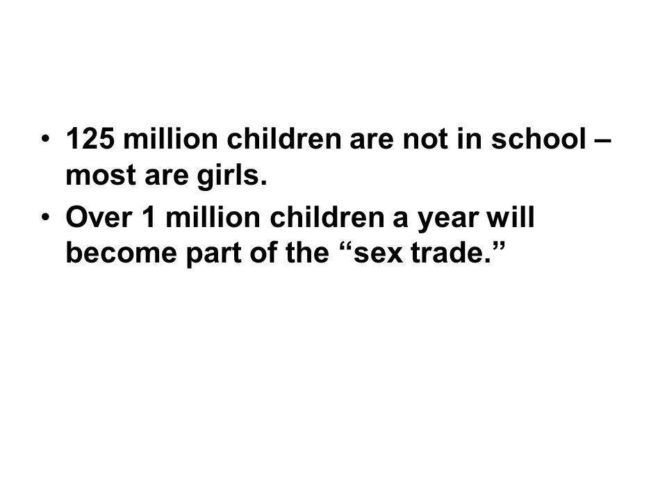 125 million children are not in school – most are girls.
