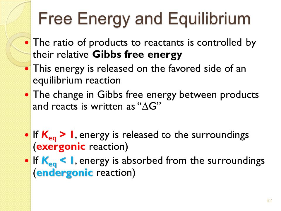 relationship between keq and free energy change for reaction