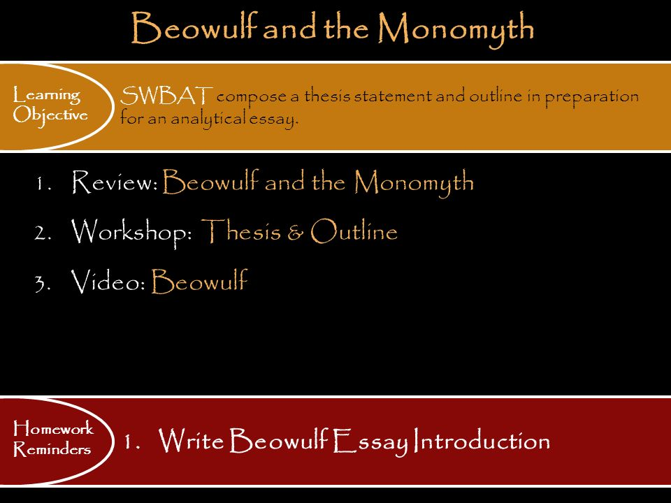 Analytical essay questions on beowulf