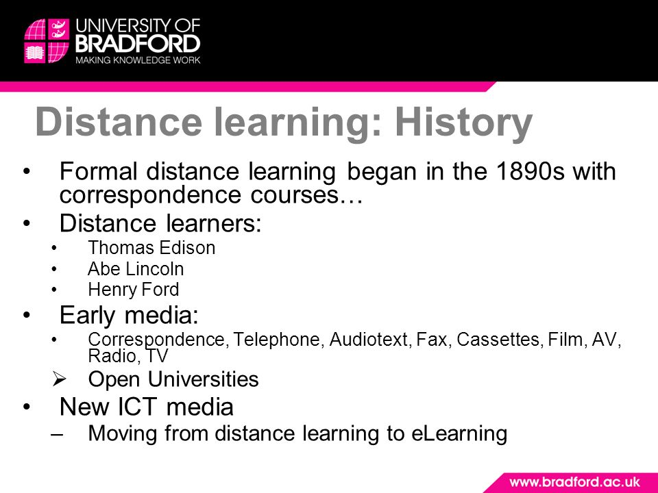 Distance learning: History