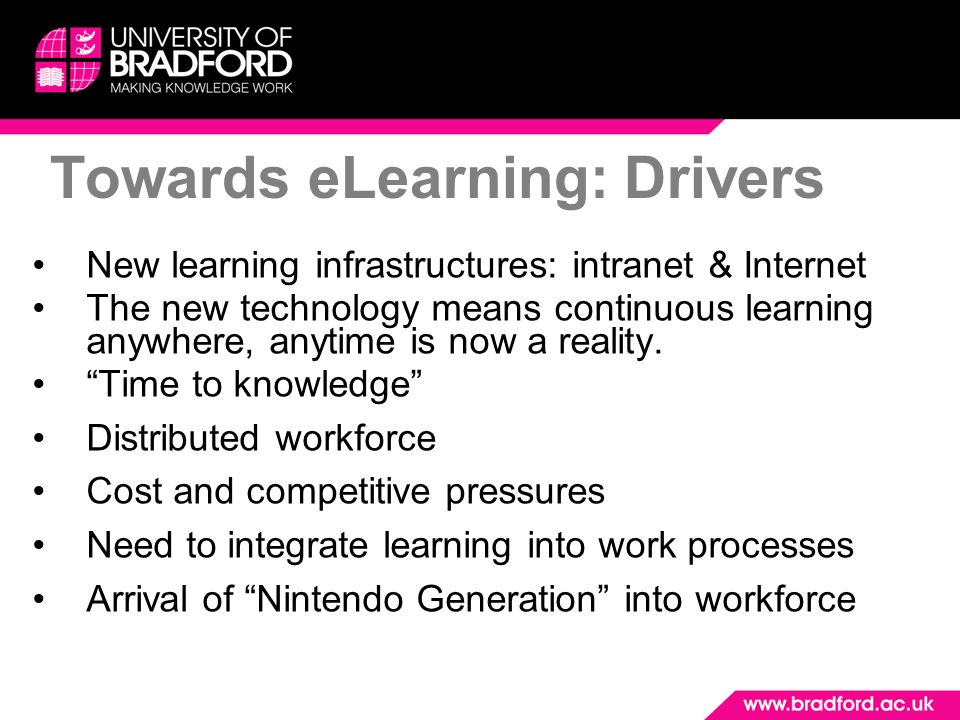 Towards eLearning: Drivers