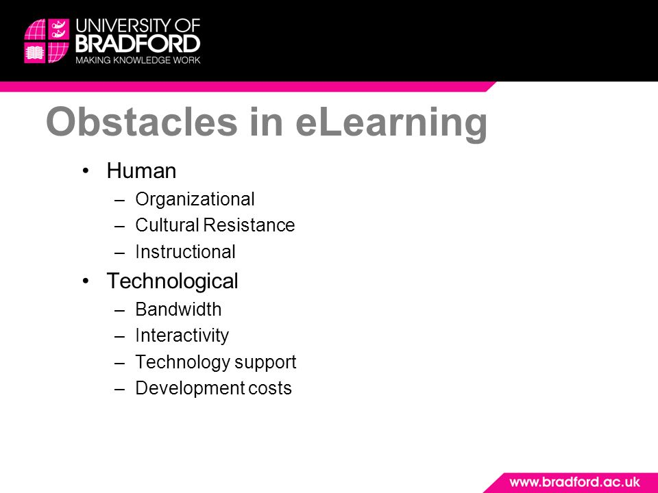 Obstacles in eLearning
