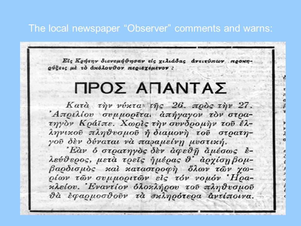 The local newspaper Observer comments and warns: