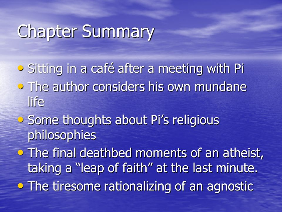 The life of pi chapters summary analysis ppt video for Life of pi chapter summary