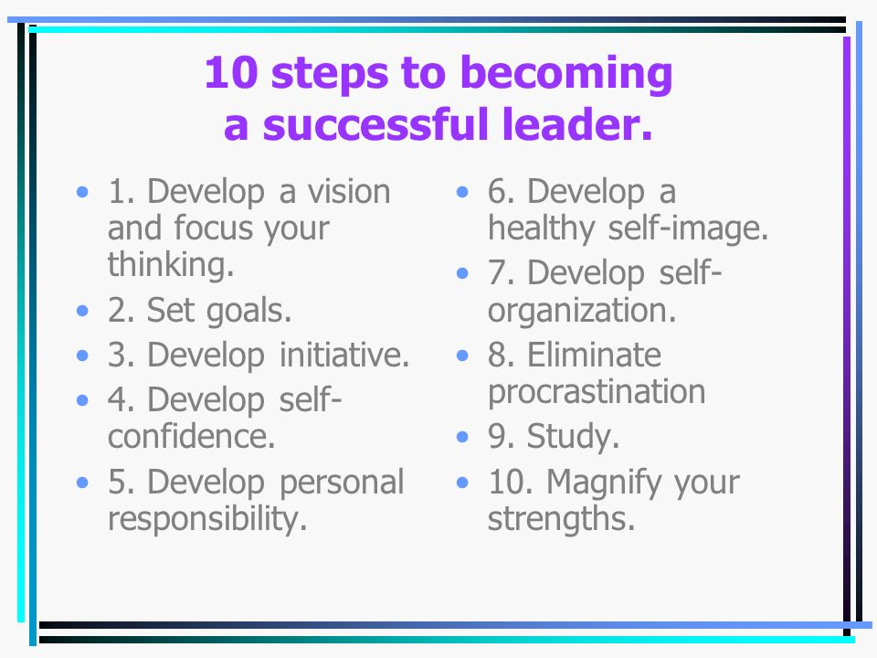 10 steps to becoming a successful leader.