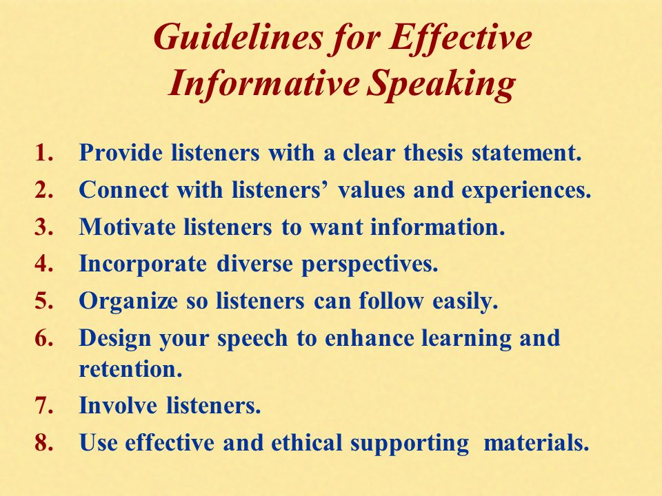 a report on my learning experience in informative speech Speakers' advice to speakers  by practicing my informative speech with  this will be a fun/valuable learning experience --jeff i guess my advice would be to.