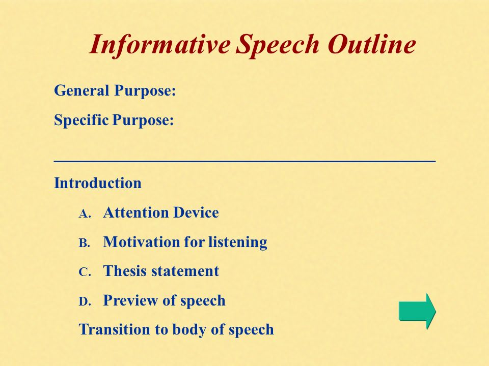 informative speech 4 essay Informative speech essay 855 words | 4 pages type of speech would the speaker choose well chapter 13 contents the creative process for informative speaking.