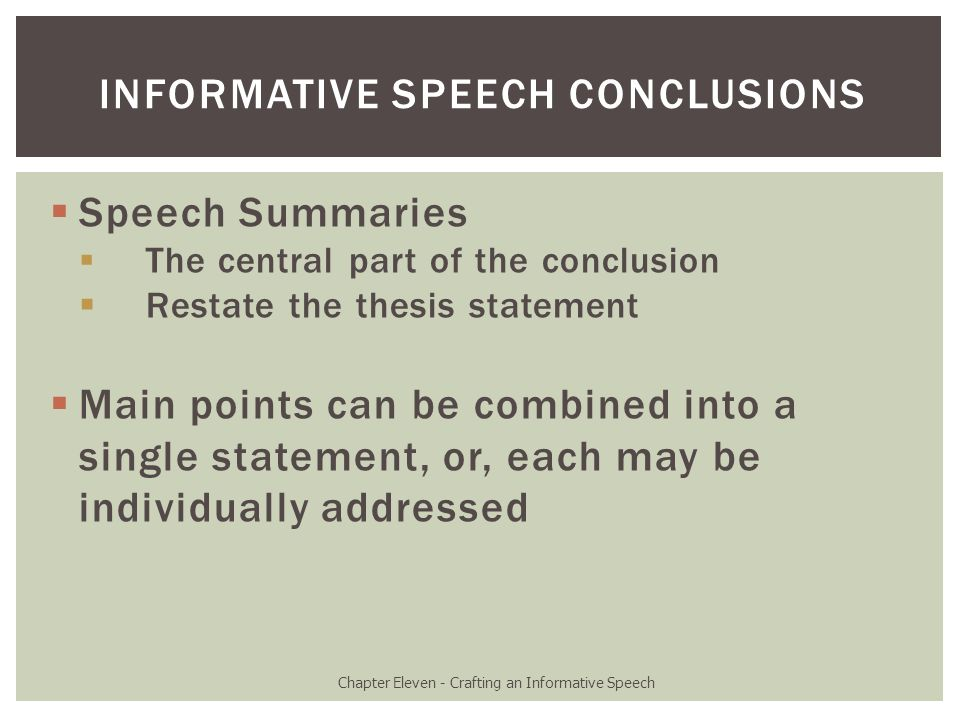 Chapter Eleven – Crafting An Informative Speech - Ppt Download