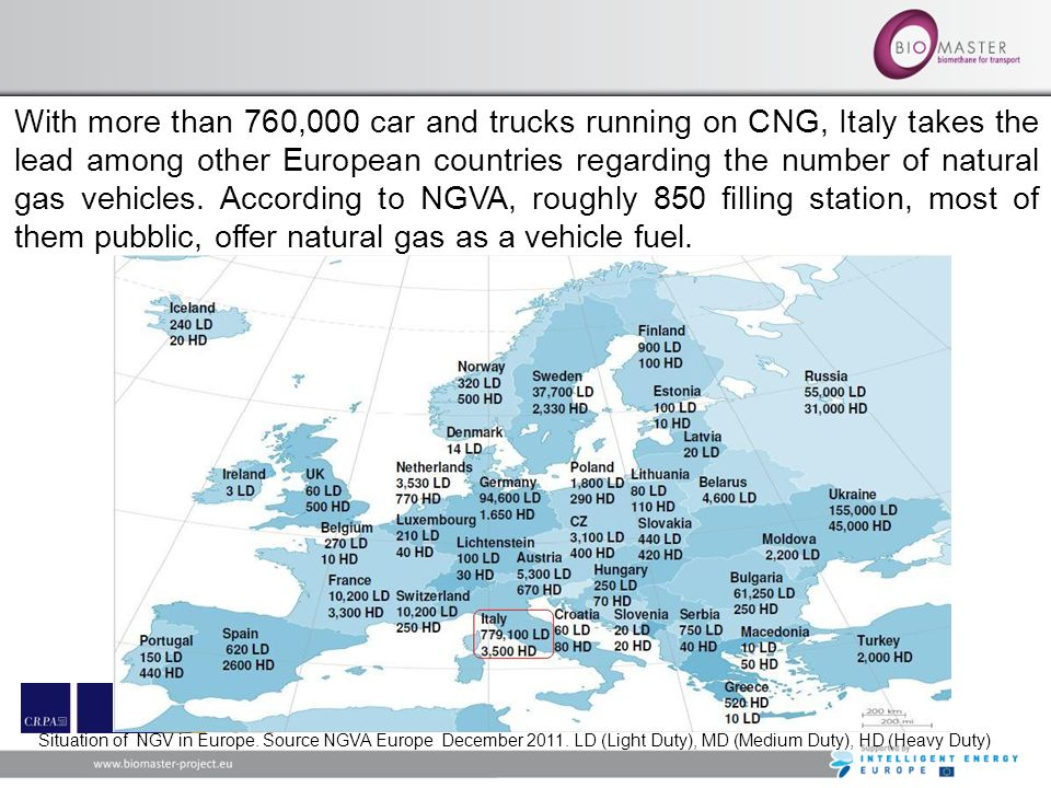 With more than 760,000 car and trucks running on CNG, Italy takes the lead among other European countries regarding the number of natural gas vehicles. According to NGVA, roughly 850 filling station, most of them pubblic, offer natural gas as a vehicle fuel.