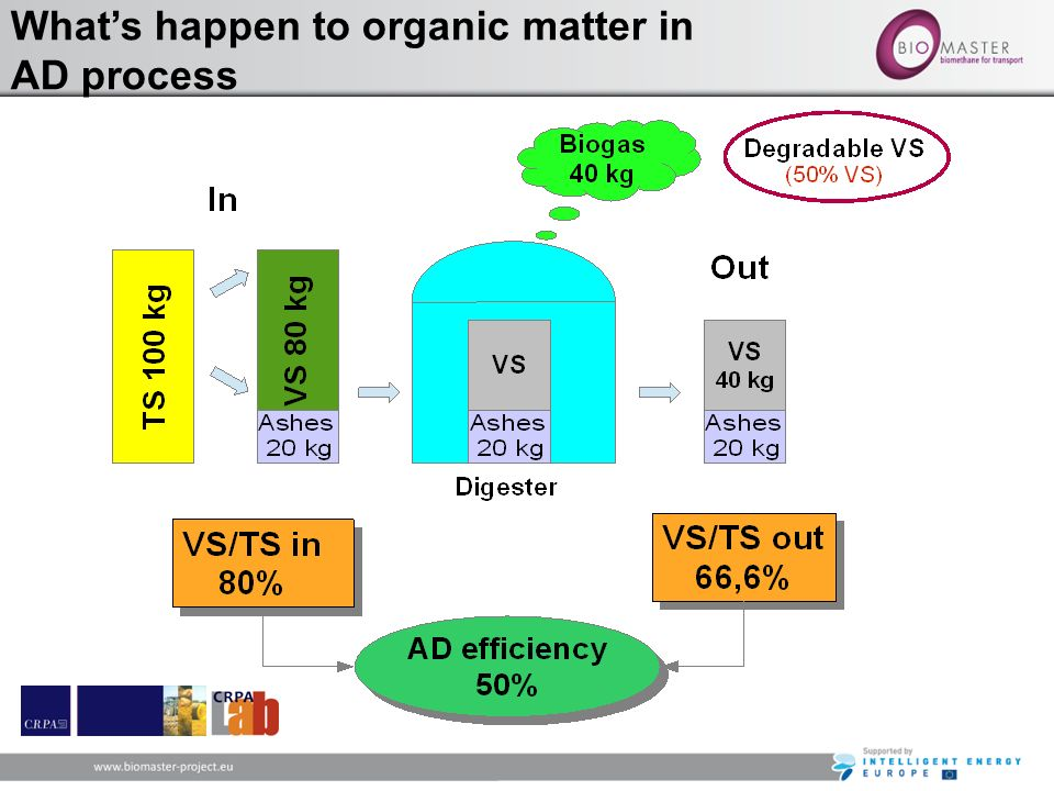 What's happen to organic matter in AD process