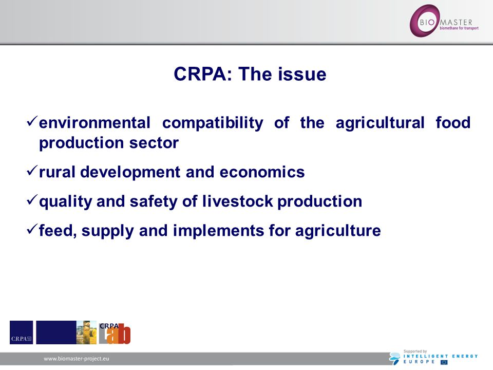 CRPA: The issue environmental compatibility of the agricultural food production sector. rural development and economics.