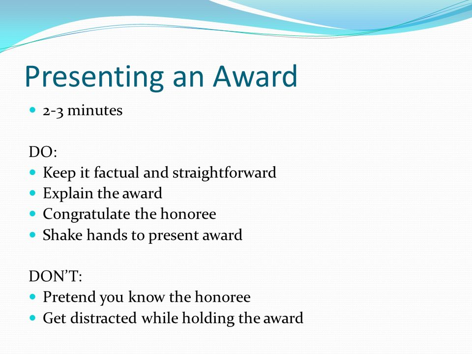 Special occasion speeches ppt video online download for Presenting an award speech template