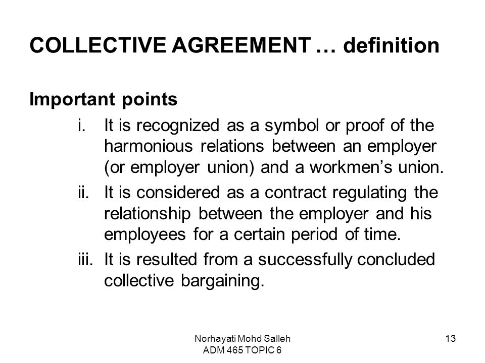 Topic 6 collective bargaining and collective agreement ppt video collective agreement definition platinumwayz