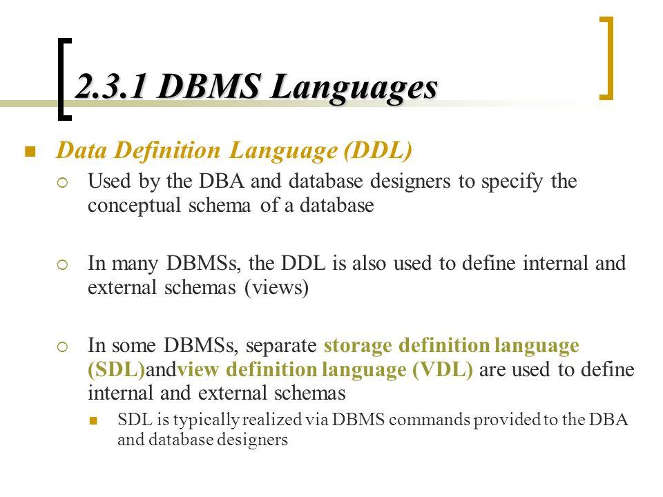 2 3 1 Dbms Languages Data Definition Language Ddl