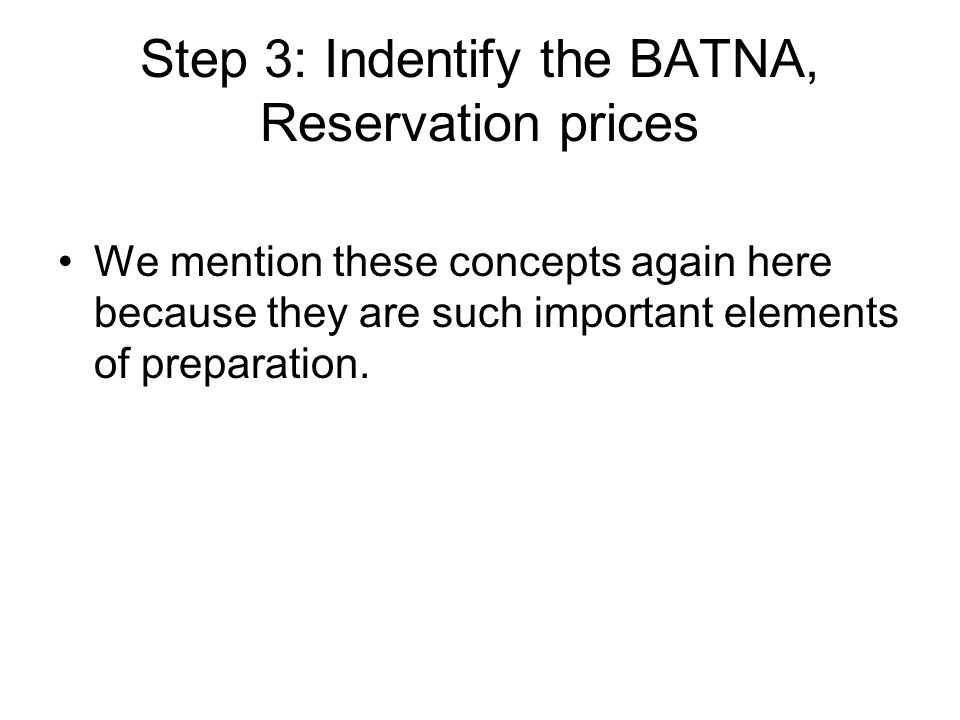 batna reservation price Reservation point, the point at which the best alternative to a negotiated  agreement (the batna) becomes preferable to starting or continuing a  negotiation.