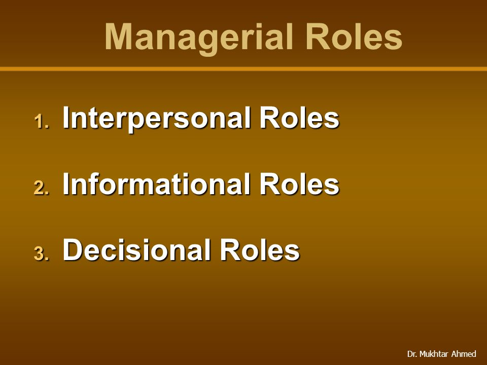 Managerial Roles Interpersonal Roles Informational Roles