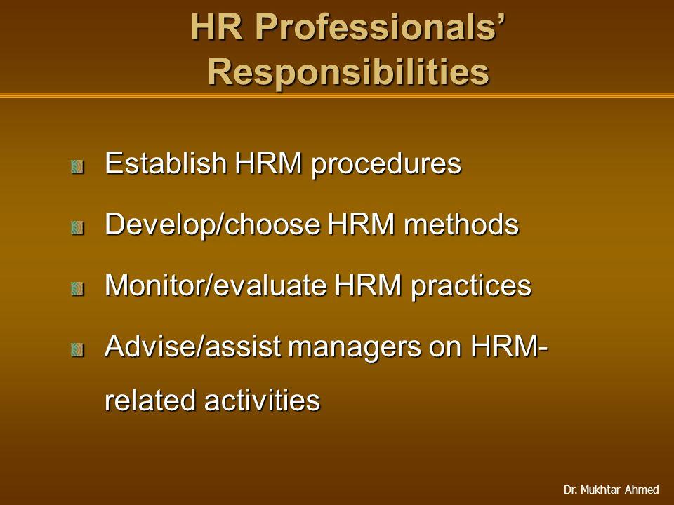 HR Professionals' Responsibilities