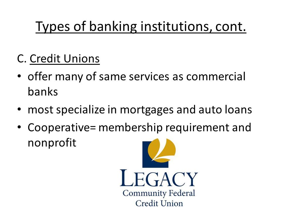 commercial banks and credit unions While commercial banks typically tailor their products and services to different types of banking behaviors (eg visit the branch vs online only) and credit unions typically have a one or two sizes fit all accounts, most checking accounts have very similar benefits.