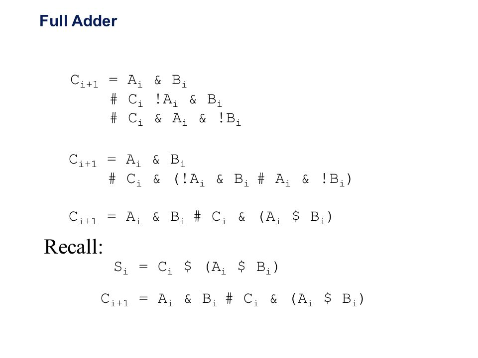 Recall: Full Adder Ci+1 = Ai & Bi # Ci !Ai & Bi # Ci & Ai & !Bi