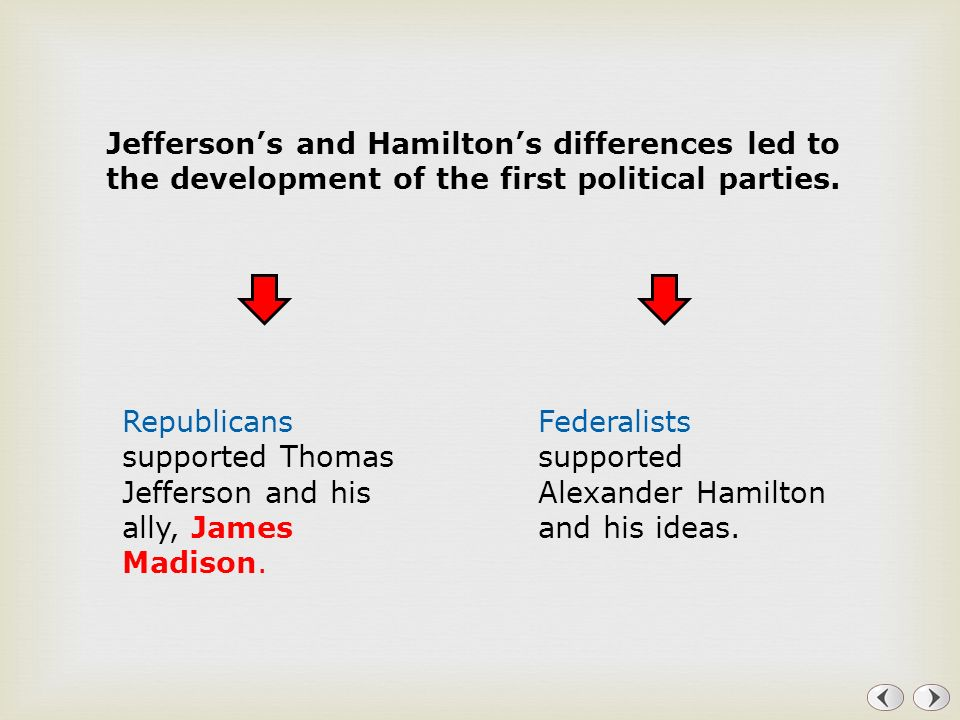 Jefferson's and Hamilton's differences led to the development of the first political parties.