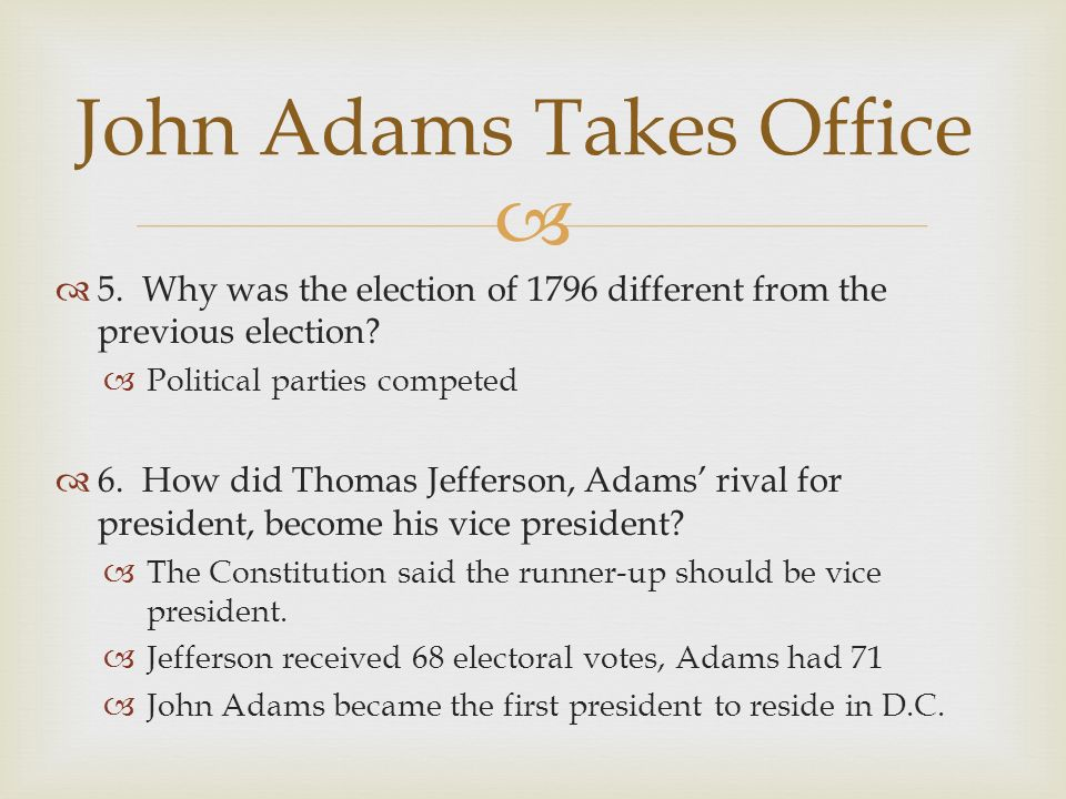 John Adams Takes Office
