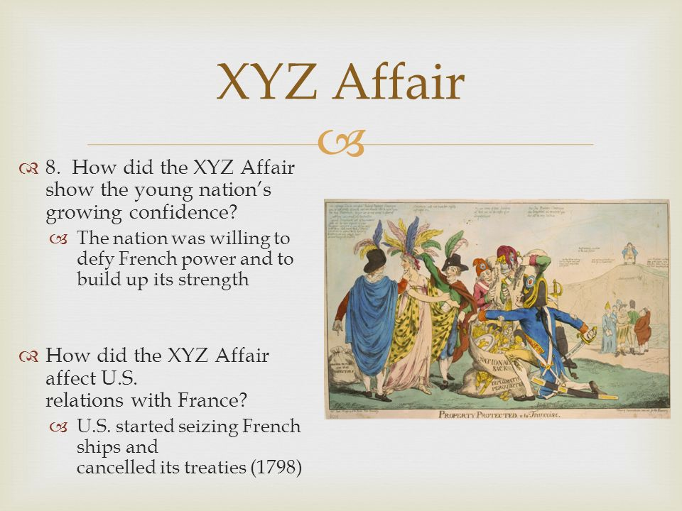 XYZ Affair 8. How did the XYZ Affair show the young nation's growing confidence