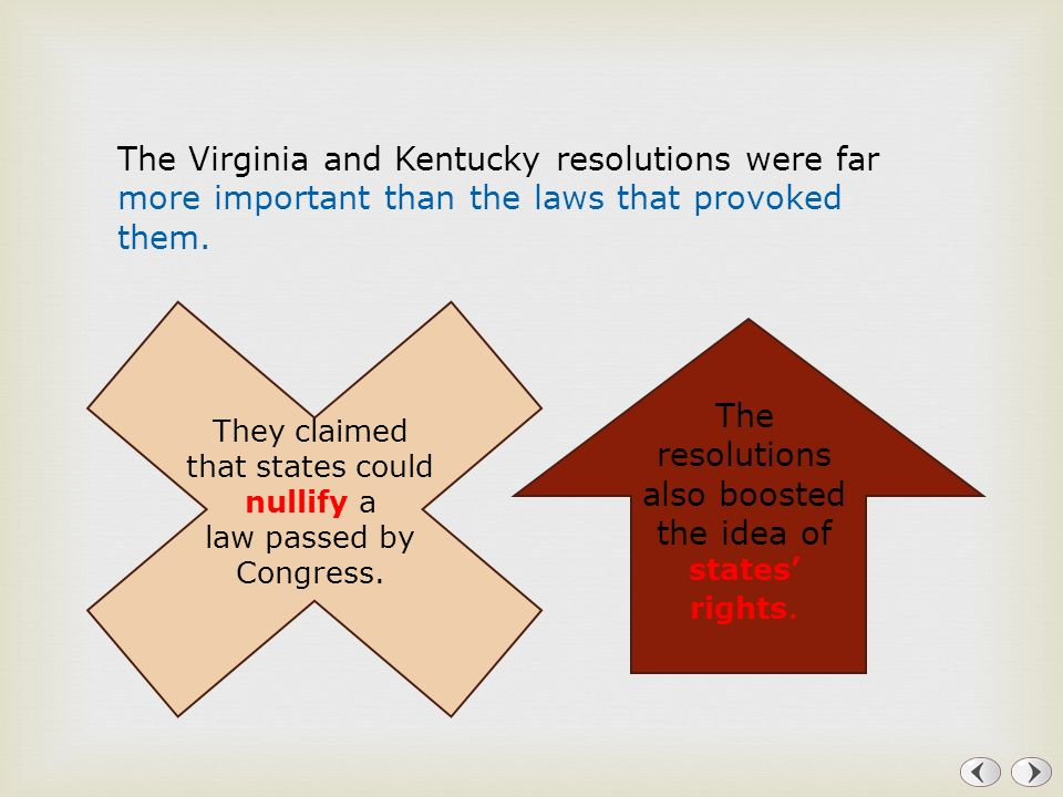 The resolutions also boosted the idea of states' rights.