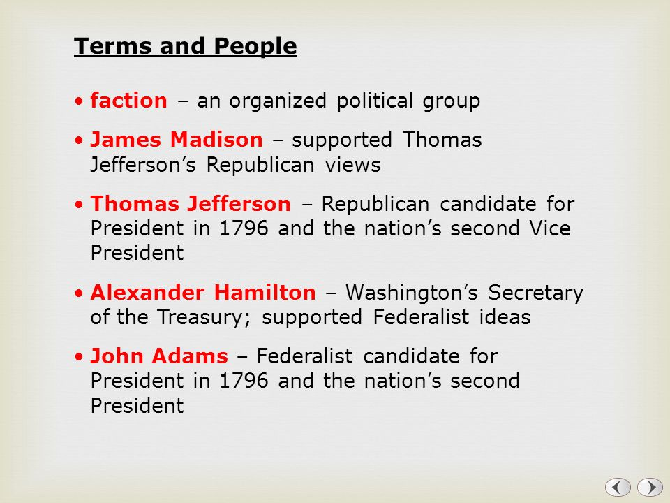 Terms and People faction – an organized political group