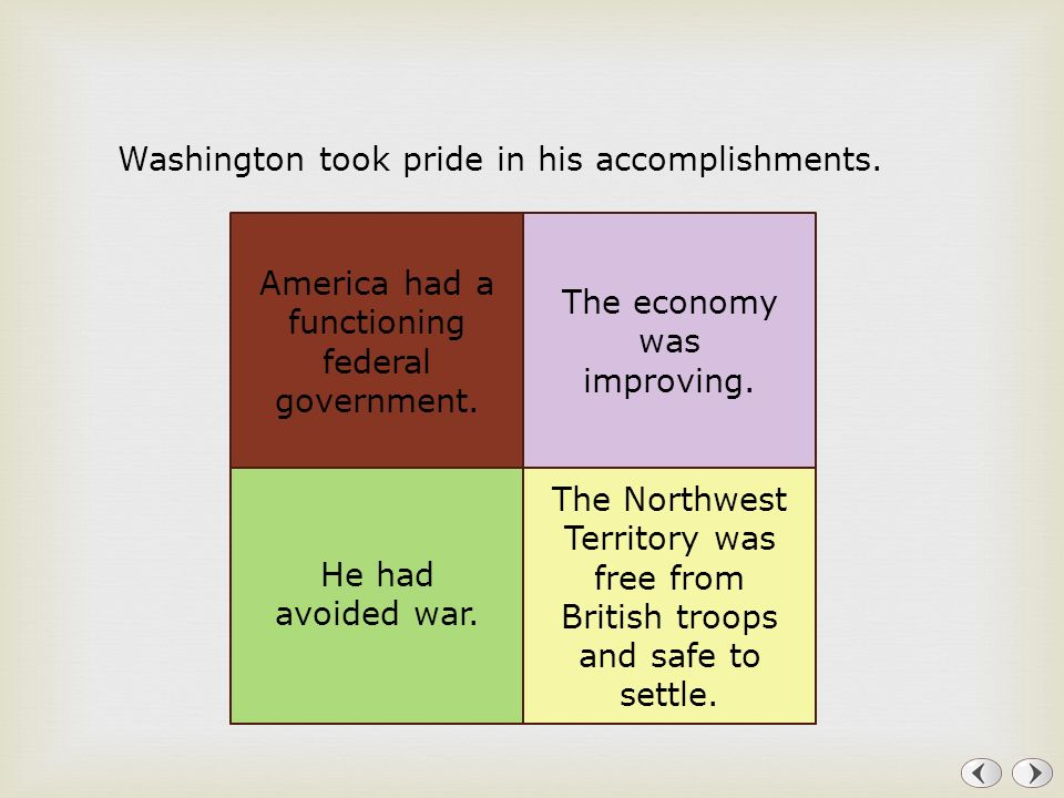 Washington took pride in his accomplishments.
