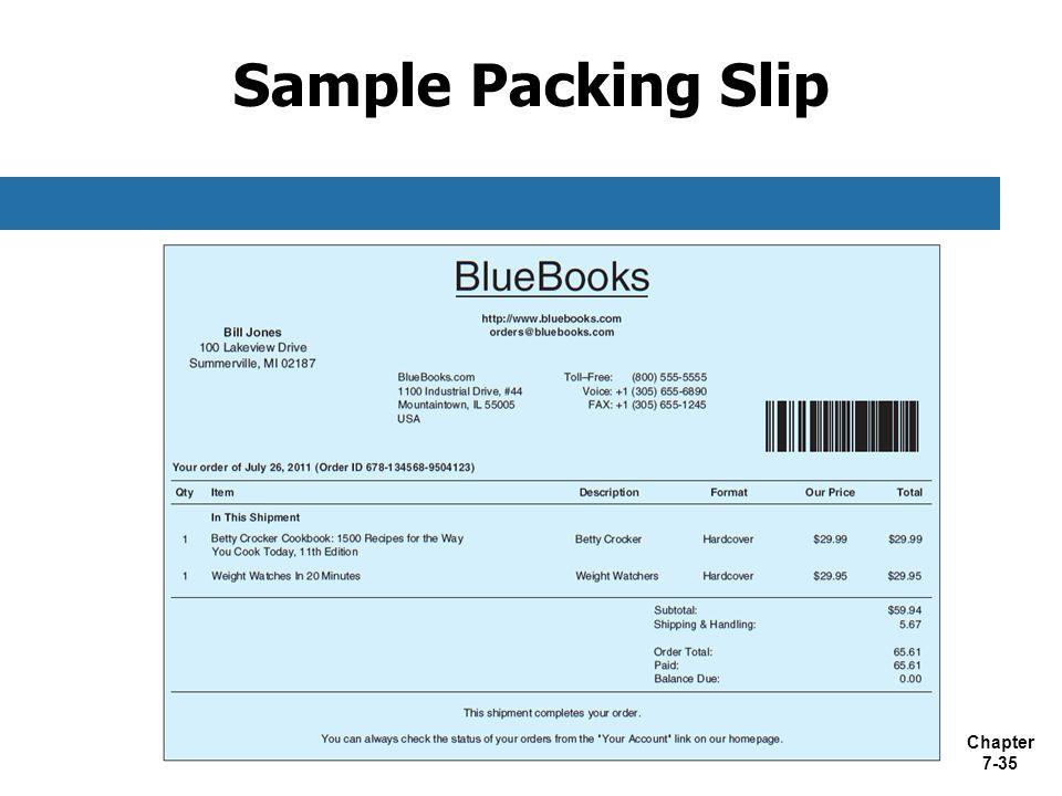 sample packing slip