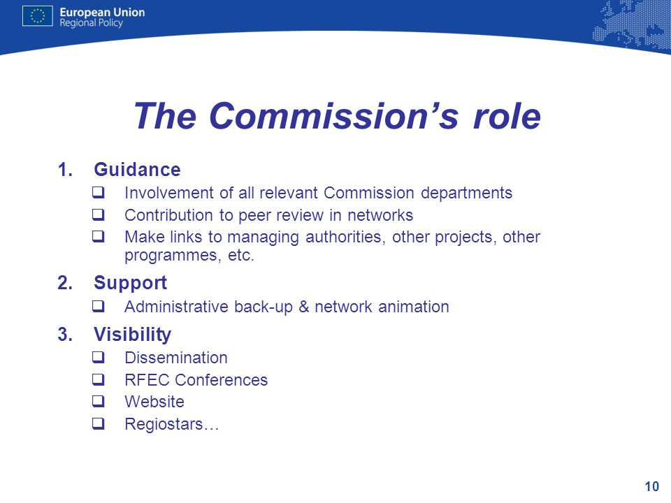 The Commission's role Guidance Support Visibility