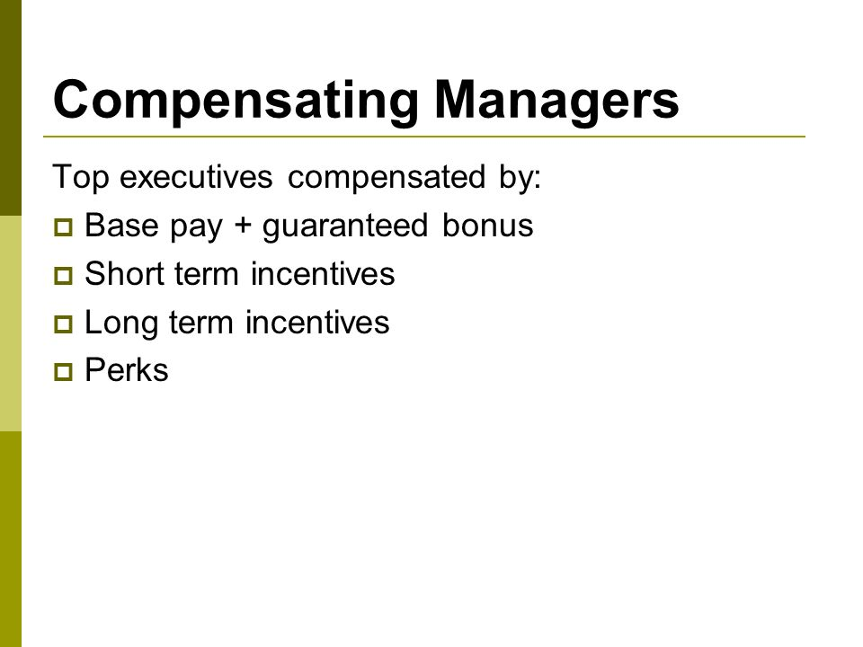 Discuss executive compensation including perks stock options and bonuses
