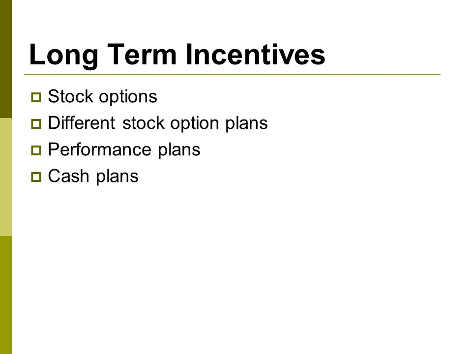 Long term incentive stock options