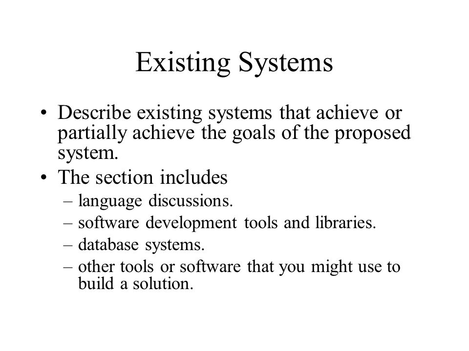 existing and proposed system