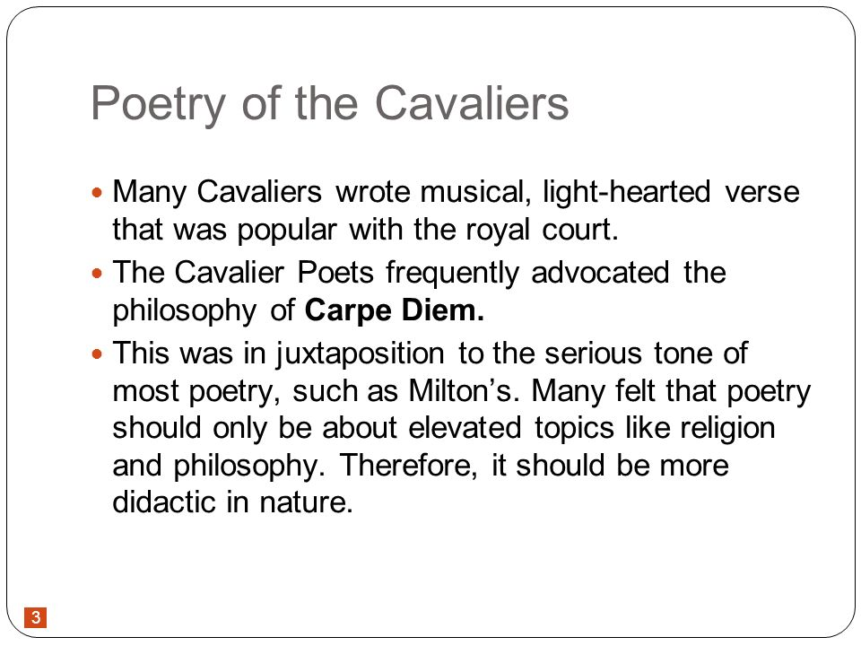 what did the cavalier poets write about
