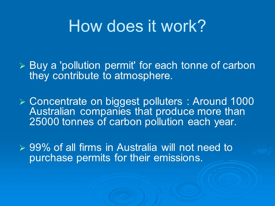 assignments buying pollution permit Emissions trading, or cap and trade, is a market-based approach to controlling  pollution by  polluters that want to increase their emissions must buy permits  from others willing to sell them  other names for emissions permits are carbon  credits, kyoto units, assigned amount units, and certified emission reduction  units.