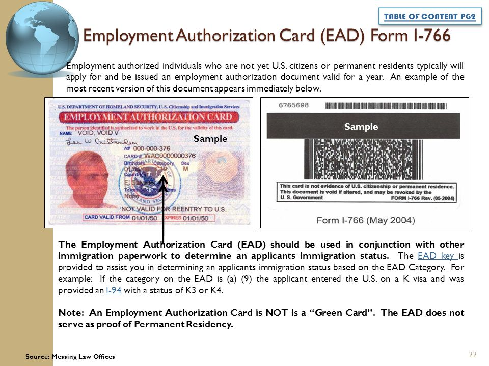 Employment Authorization Document Ead Work Permit To