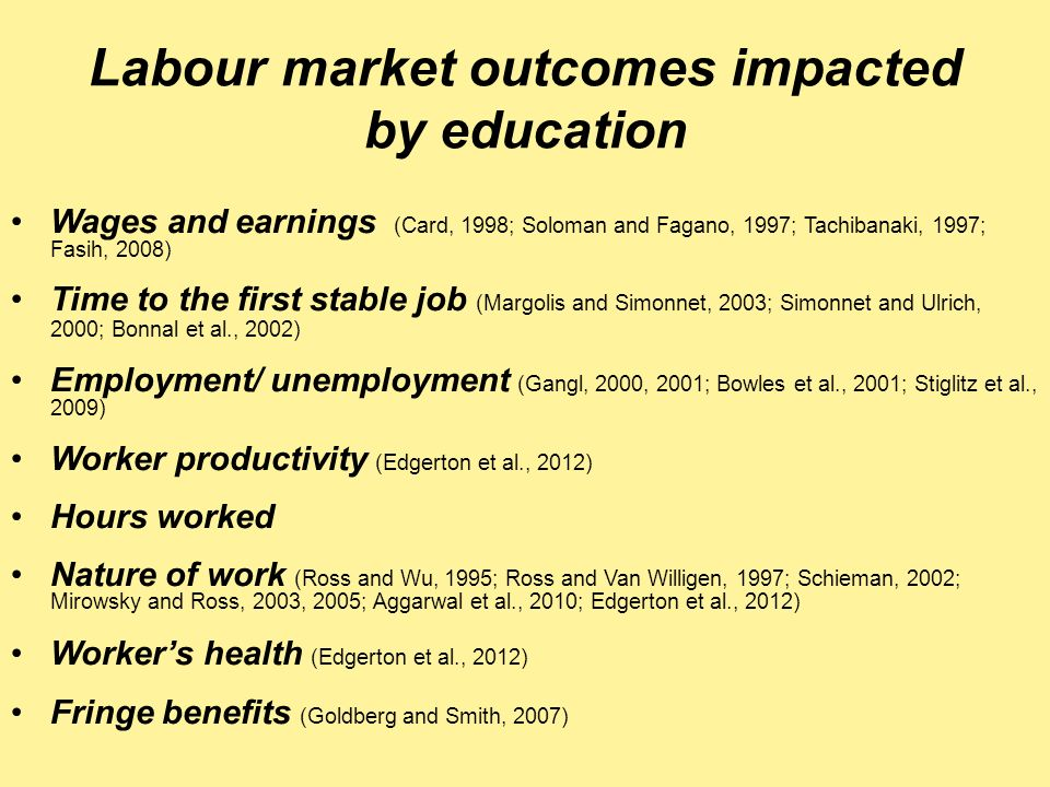 Labour market outcomes impacted by education