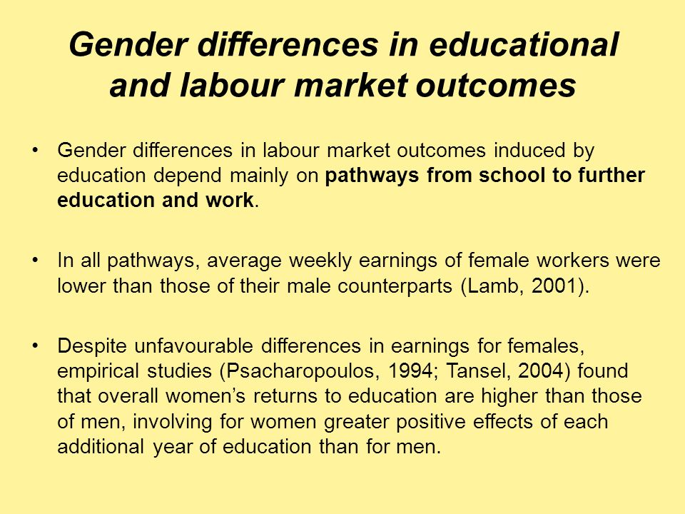 Gender differences in educational and labour market outcomes